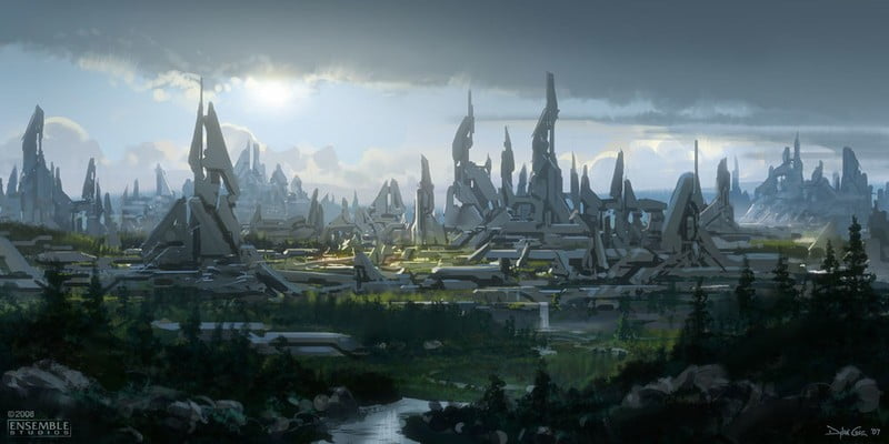 این تصویر یک کانسپت آرت از شهر فوررانرها است که قرار بود در یک پروژهی لغو شدهی Halo استفاده شود.