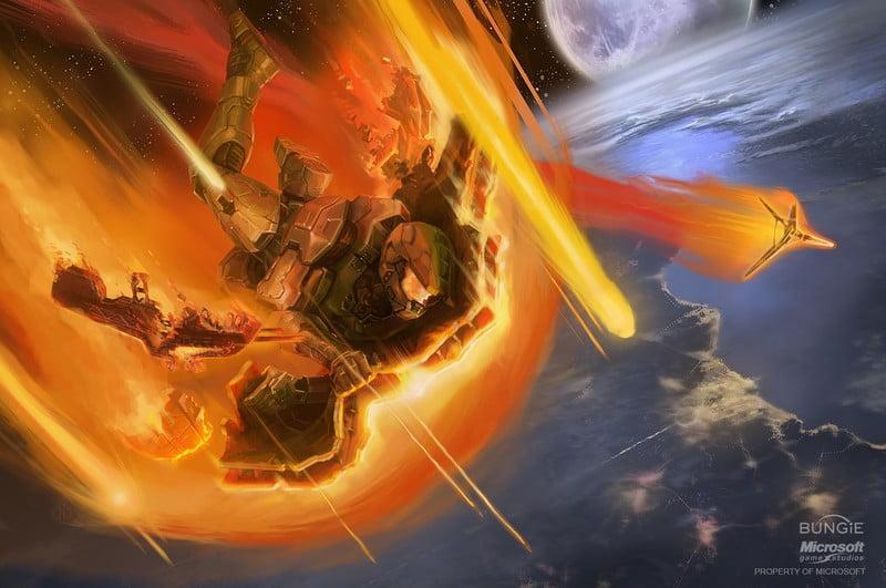 در این کانسپتآرت از Halo 3 میبینیم که مسترچیف پس از پرش از Dreadnought در حال سقوط به سمت زمین است.