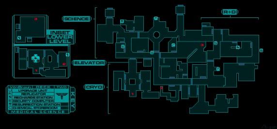 نمونهای از نقشه مراحل در بازی سیستم شاک
