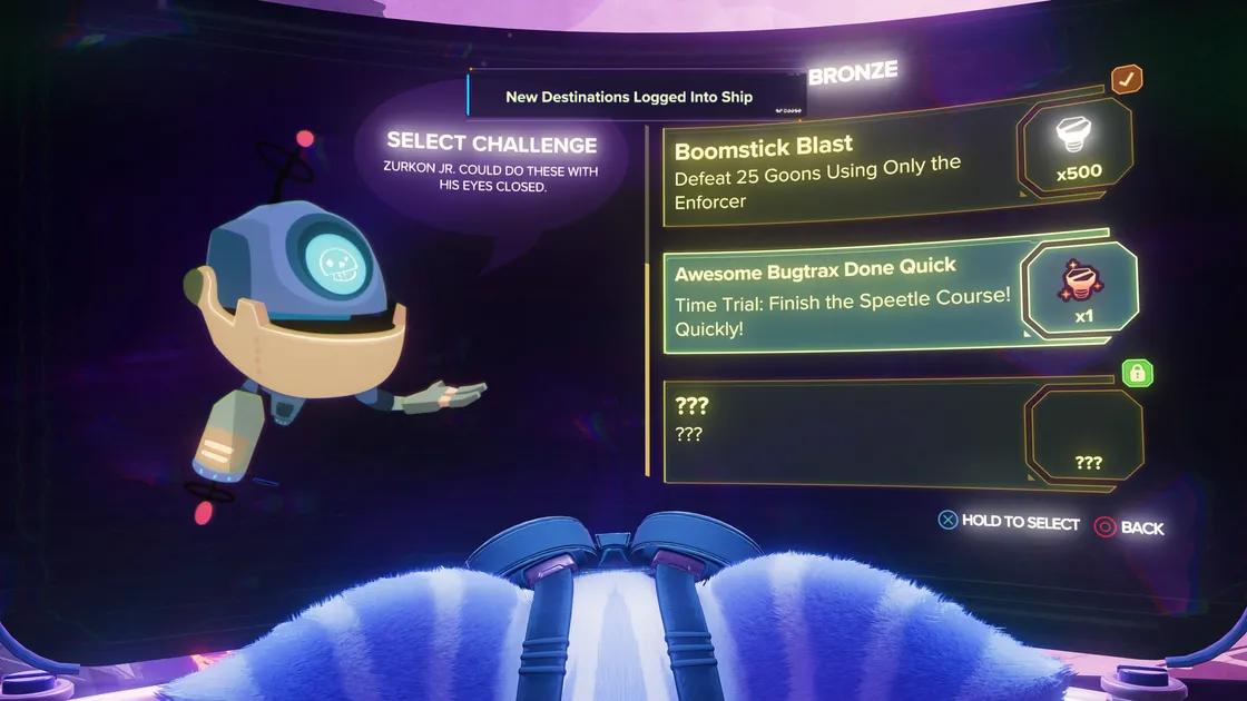چالشهای قدیمی را باری دیگر بازی کنید تا پیچ و مهرههای بیشتری دریافت کنید!   راهنمای بازی Ratchet & Clank: Rift Apart