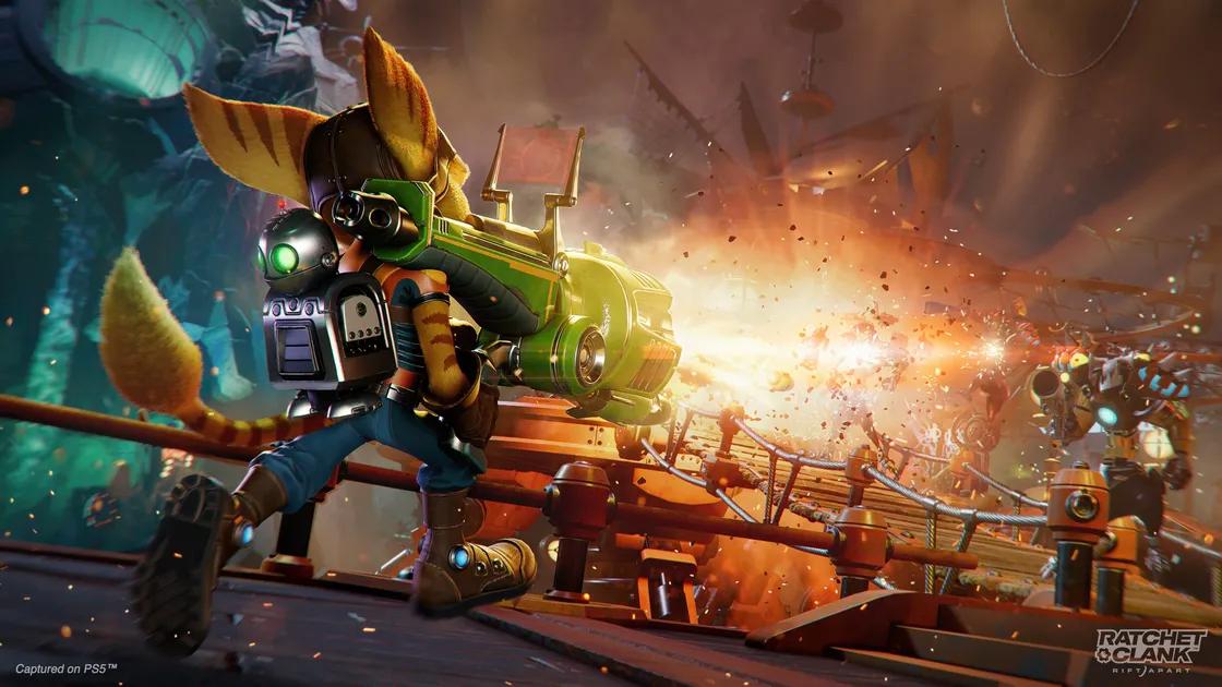 سلاح Warmonger در بازی Ratchet & Clank: Rift Apart یک راکت لانچر بسیار قدرتمند است.   راهنمای بازی Ratchet & Clank: Rift Apart